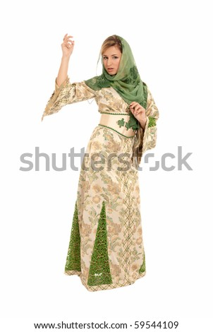 Young arab woman with veil standing isolated on white background - stock photo