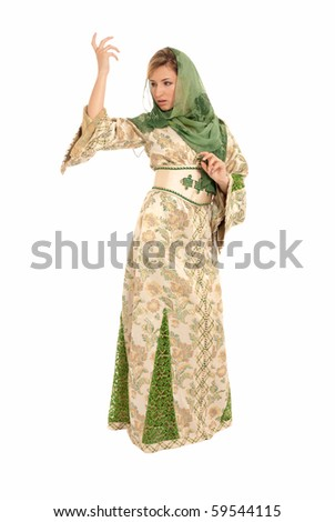 Young arab woman with veil standing isolated on white background