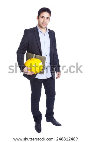 Young architect holding a helmet and a folder on a white background - stock photo