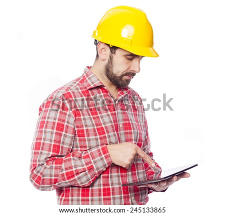 Young architect holding a tablet computer, isolated on white background