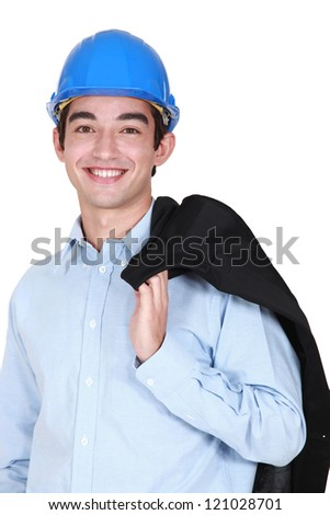 Young architect holding jacket over shoulder - stock photo