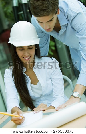Young architect teamwork working - stock photo