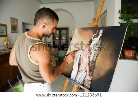 young artist - stock photo
