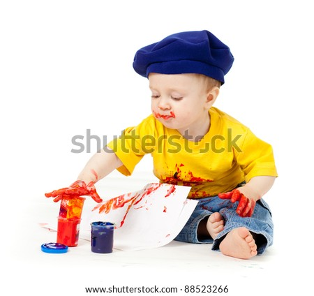 young artist child with paints