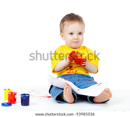 young artist child with paints - stock photo