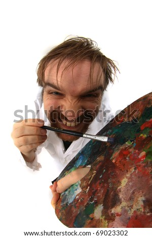 young artist isolated on the white background - stock photo