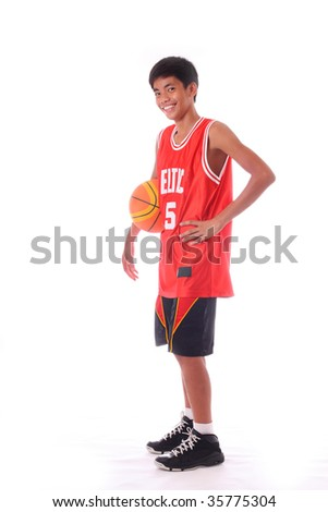 young asian basketball player - stock photo