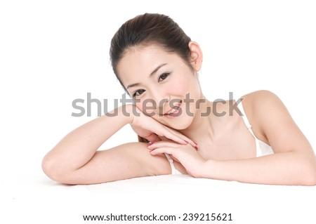 young asian beautiful woman's face-closeup - stock photo