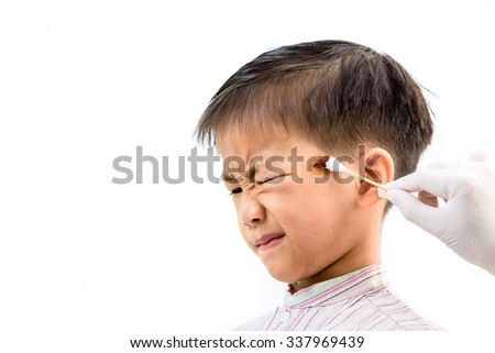 Young Asian Boy got wound from accident and become dry after treatment. - stock photo