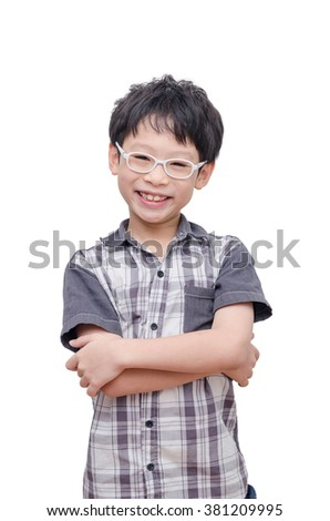 Young Asian boy smile over white - stock photo