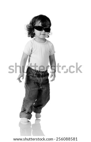 young asian boy with sunglasses isolated no white - stock photo