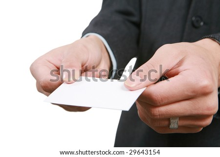 young asian Business man handing a blank business card over white background - stock photo