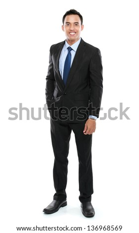 Young Asian business man isolated on white background. - stock photo