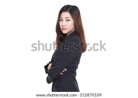 Young asian business woman isolated on white background