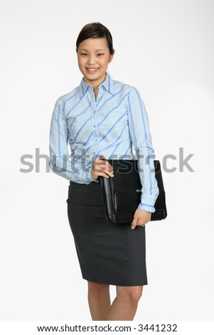 Young Asian Business woman photographed over white holding black folio
