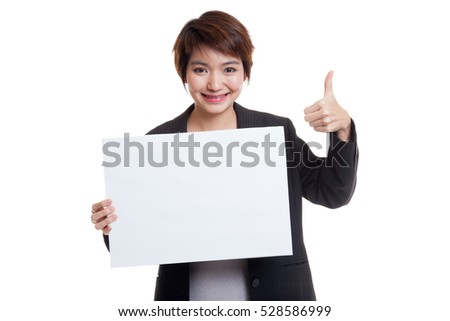 Young Asian business woman show thumbs up with  white blank sign  isolated on white background.