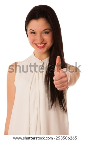 Young asian business woman showing thumb up gesturing success - ok sign isolated over white - stock photo