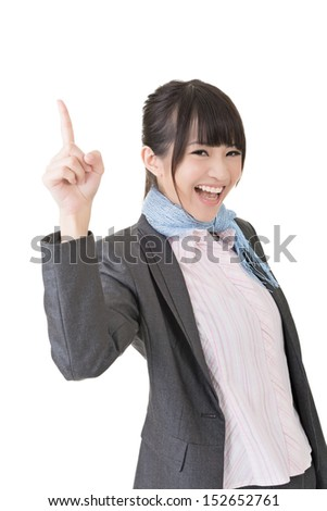 Young asian business woman think and get an idea, pointing up with a finger. Closeup portrait. Isolated on the white background. - stock photo