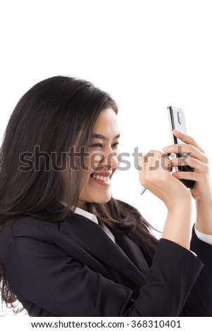 Young Asian business woman using smart phone isolated on white background.