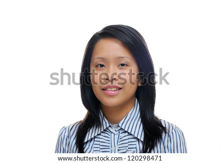 Young asian business woman wearing a stripy shirt