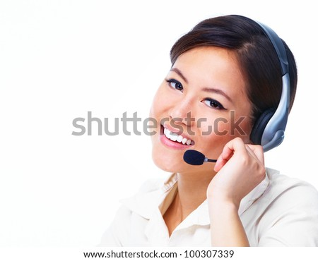 Young asian business woman with headset. Isolated on white background. - stock photo
