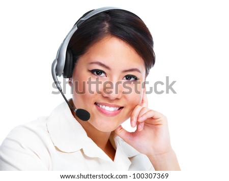 Young asian business woman with headset. Isolated on white background.