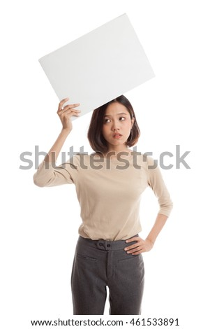 Young Asian business woman with white blank sign  isolated on white background .