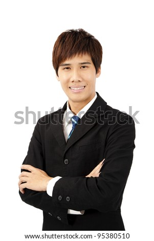 young asian businessman isolated on white - stock photo