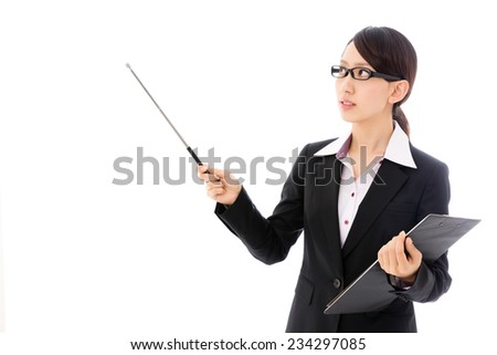 young asian businesswoman on white background