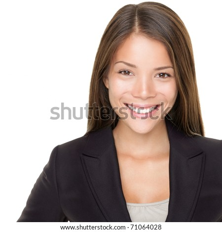 Young asian businesswoman portrait over white. Multiracial Asian / Caucasian business woman smiling looking at camera. - stock photo
