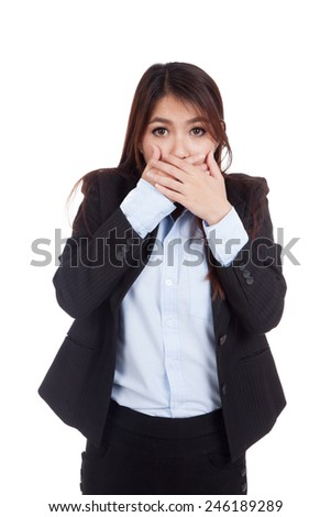 Young Asian businesswoman shocked and close her mouth  isolated on white background