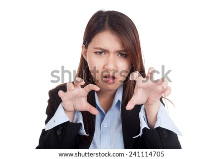 Young Asian businesswoman with spooky hands gesture  isolated on white background