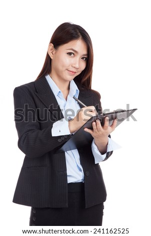 Young Asian businesswoman  write on clipboard  isolated on white background