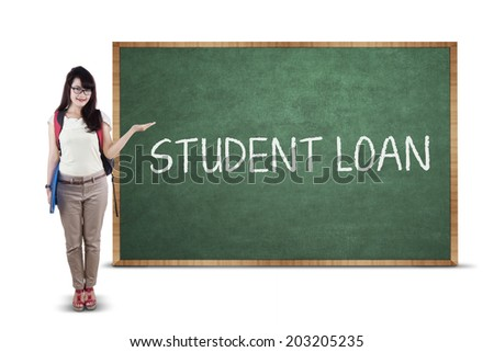 Young asian college student showing a text of student loan - stock photo