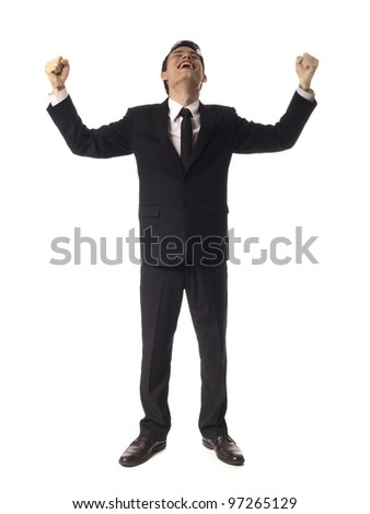 Young Asian Corporate Man doubel fist pump over white background