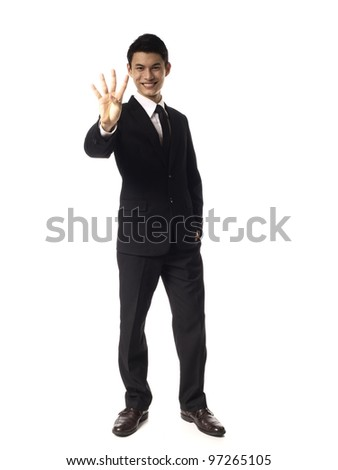 Young Asian Corporate Man four fingers over white background