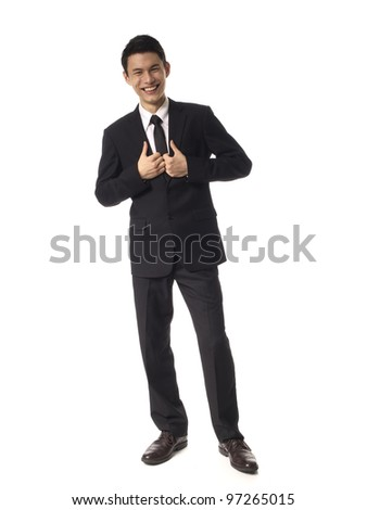 Young Asian Corporate Man holding suit over white background