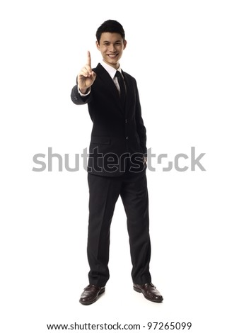 Young Asian Corporate Man with one finger over White Background