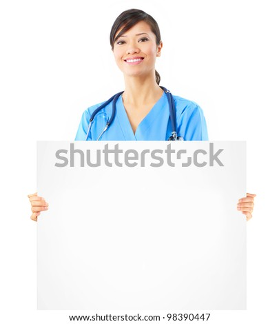 Young asian doctor woman with banner. Isolated over white background.