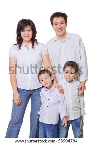 Young Asian Family, mother, father, boys. White shirts and blue jeans on white background. - stock photo