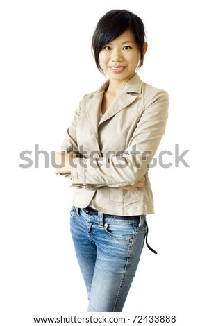 Young Asian female isolated on white background - stock photo