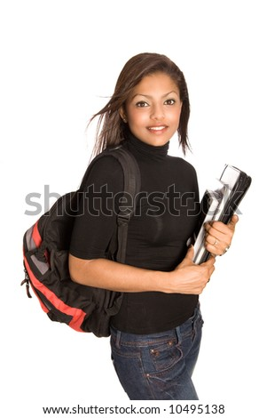 Young Asian female student with rucksack, folder and books, isolated on white.