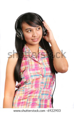 Young Asian Girl Listening to Music stock image