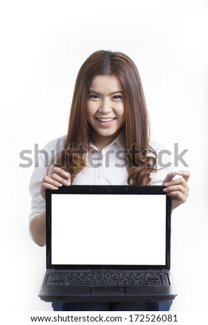 Young Asian girl showing monitor of Notebook computer on White background