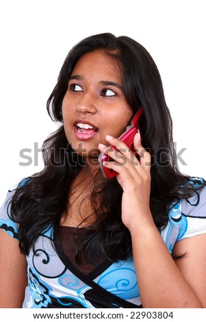 Young asian girl talking in phone. Isolated on white - stock photo