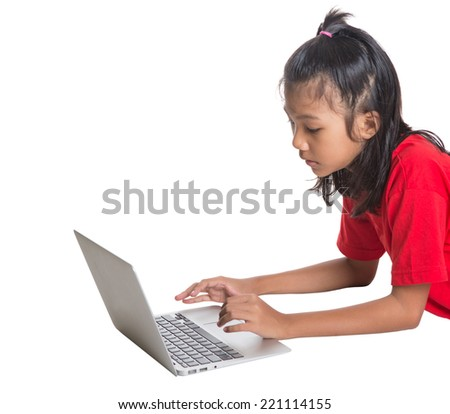 Young Asian girl with a laptop over white background - stock photo