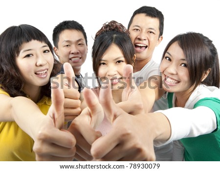 young asian Group people with thumbs up - stock photo