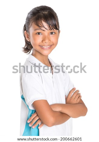 Young Asian Malay school girl in school uniform over white background