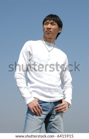 Young Asian male model - stock photo