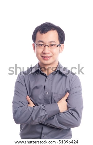 Young asian male model with hand gesture in business shirt